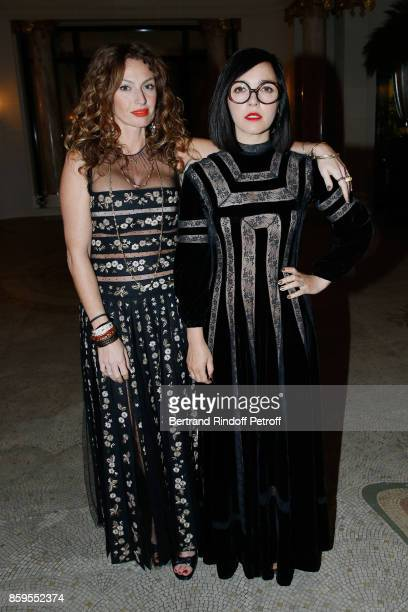 Musical Group 'Brigitte' Aurelie Saada and Sylvie Hoarau attend the 'Diner des Amis de Care' at Hotel Peninsula Paris on October 9 2017 in Paris...