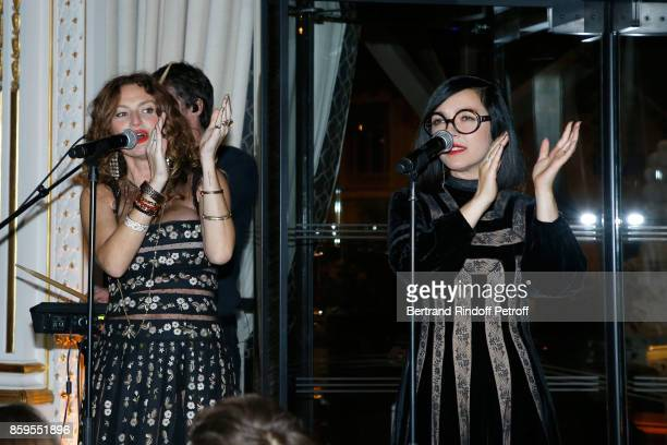 Musical Group 'Brigitte' Aurelie Saada and Sylvie Hoarau perform during the 'Diner des Amis de Care' at Hotel Peninsula Paris on October 9 2017 in...