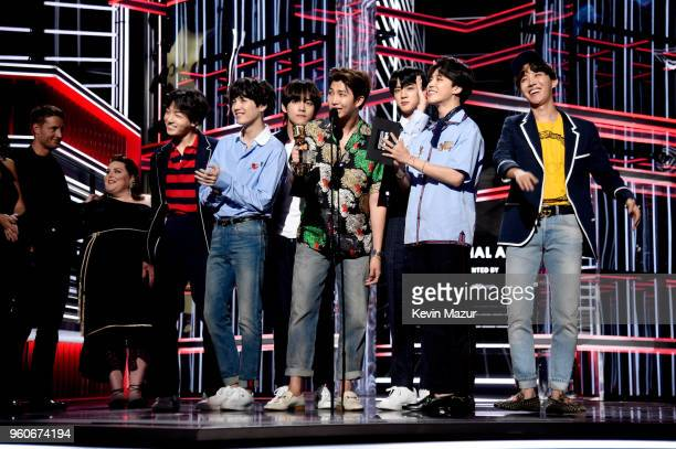Musical group BTS accepts Top Social Artist onstage at the 2018 Billboard Music Awards at MGM Grand Garden Arena on May 20 2018 in Las Vegas Nevada
