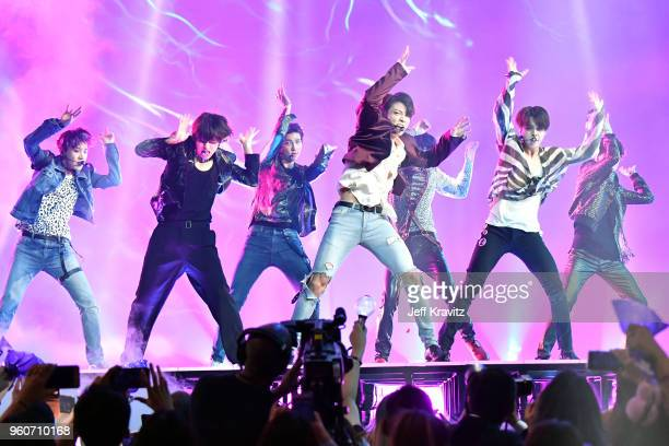 Musical group BTS perform onstage during the 2018 Billboard Music Awards at MGM Grand Garden Arena on May 20 2018 in Las Vegas Nevada