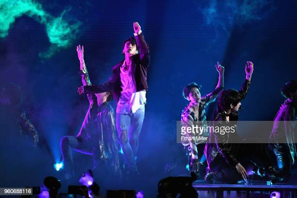 Musical group BTS perfroms onstage during the 2018 Billboard Music Awards at MGM Grand Garden Arena on May 20 2018 in Las Vegas Nevada