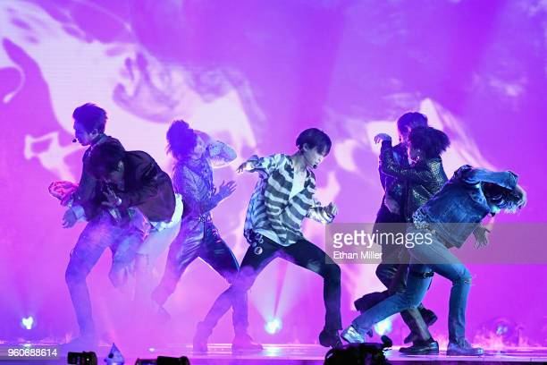 Musical group BTS performs onstage during the 2018 Billboard Music Awards at MGM Grand Garden Arena on May 20 2018 in Las Vegas Nevada