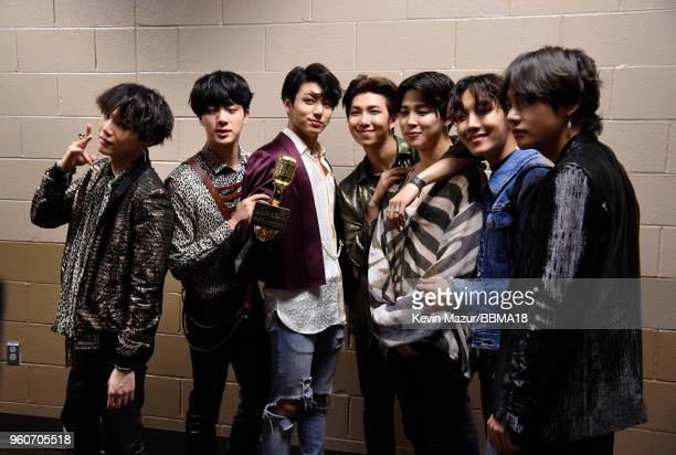 Musical group BTS winners of the Top Social Artist award attend the 2018 Billboard Music Awards at MGM Grand Garden Arena on May 20 2018 in Las Vegas...