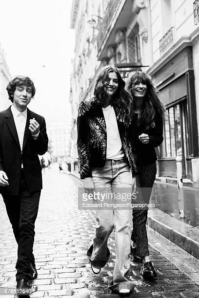 Musical group Burning Peacocks and Caroline de Maigret are photographed for Madame Figaro on May 9 2016 in Paris France David Baudart Jacket shirt...