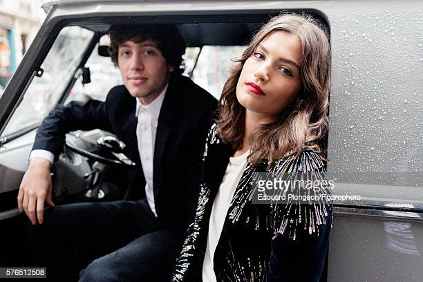 Musical group Burning Peacocks are photographed for Madame Figaro on May 9 2016 in Paris France David Baudart Jacket shirt and jeans Alma Jodorowsky...