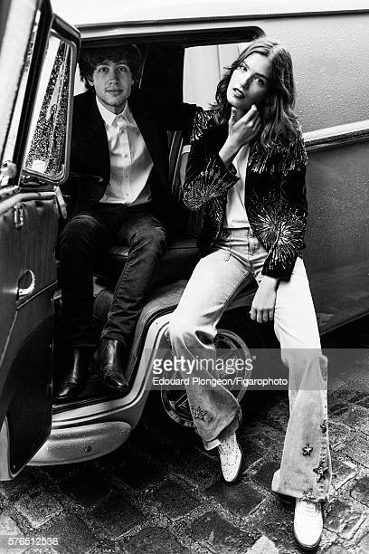 Musical group Burning Peacocks are photographed for Madame Figaro on May 9 2016 in Paris France David Baudart Jacket shirt and jeans boots Alma...