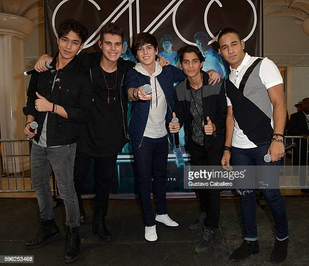 Musical group CNCO performs at the meet and greet fans at Miami International Mall on August 26, 2016 in Miami, Florida.