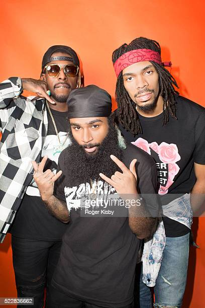 Musical group Flatbush Zombies pose for a portrait backstage at FADER FORT presented by Converse during SXSW on March 17 2016 in Austin Texas