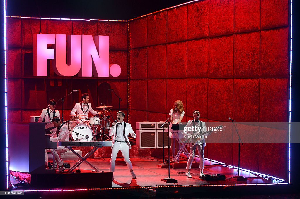Musical group Fun. performs onstage during the 2012 MTV Movie Awards held at Gibson Amphitheatre on June 3, 2012 in Universal City, California.