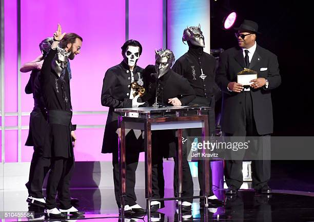 Musical group Ghost accept the award for Best Metal Performance for 'Cirice' onstage during The 58th GRAMMY Premiere Ceremony at Los Angeles...