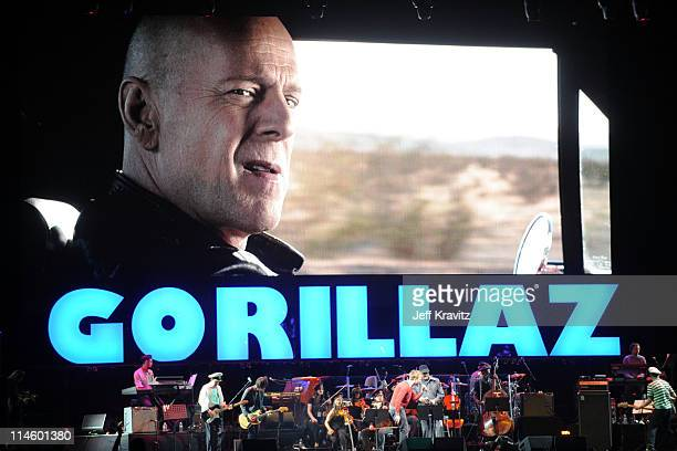 Musical group Gorillaz perform during Day 3 of the Coachella Valley Music Art Festival 2010 held at the Empire Polo Club on April 18 2010 in Indio...