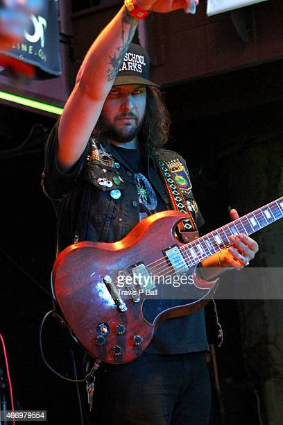 Musical group King Tuff performs onstage at the FLOODfest during the 2015 SXSW Music Film Interactive Festival at Cedar Street Courtyard on March 19...
