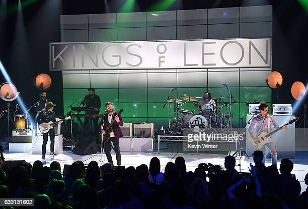 Musical group Kings Of Leon perform on stage on ATT at iHeartRadio Theater LA on January 30 2017 in Burbank California