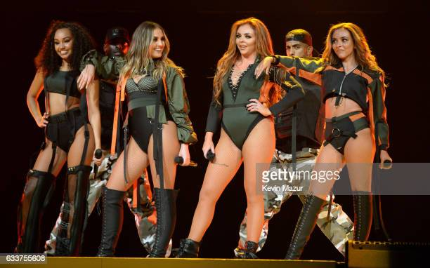 Musical group Little Mix perform on stage during the Dangerous Woman Tour Opener at Talking Stick Resort Arena on February 3 2017 in Phoenix Arizona