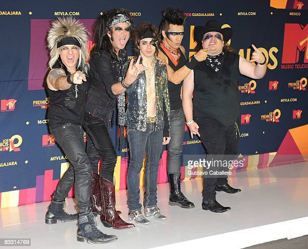 Musical group Moderatto pose in the press room during the 7th Annual 'Los Premios MTV Latin America 2008' Awards held at the Auditorio Telmex on...