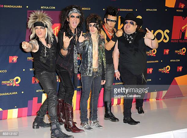 Musical group Moderatto poses in the press room during the 7th Annual 'Los Premios MTV Latin America 2008' Awards held at the Auditorio Telmex on...