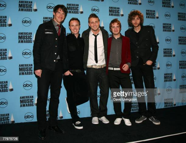 Musical group One Republic poses in the press room at the 2007 American Music Awards held at the Nokia Theatre LA LIVE on November 18 2007 in Los...