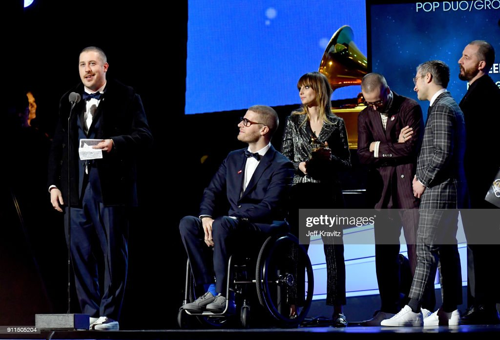 Musical group Portugal. The Man accepts the award for Best Pop Duo/Group Performance for 'Feel It Still' onstage at the premiere ceremony during the 60th Annual GRAMMY Awards at Madison Square Garden on January 28, 2018 in New York City.