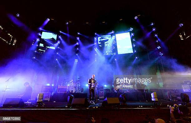 Musical group Radiohead performs on the Lands End Stage during the 2016 Outside Lands Music And Arts Festival at Golden Gate Park on August 6 2016 in...