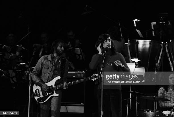 Musical group the Bee Gees perform on March 21, 1973 at a television concert at the Banana Fish Theatre in Brooklyn, New York.