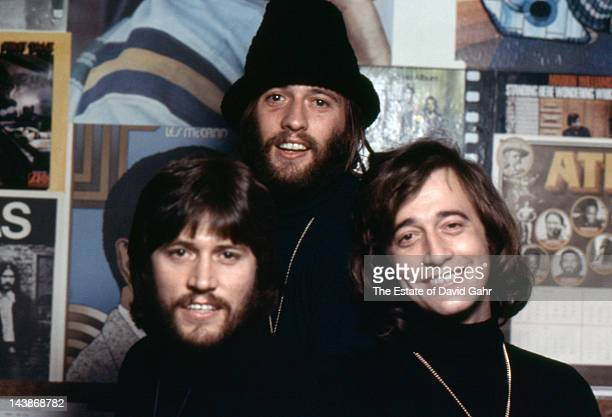 Musical group The Bee Gees pose for a portrait in April 1974 in Miami Florida