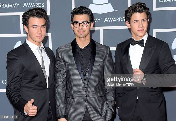Musical group the Jonas Brothers arrives at the 52nd Annual GRAMMY Awards held at Staples Center on January 31 2010 in Los Angeles California