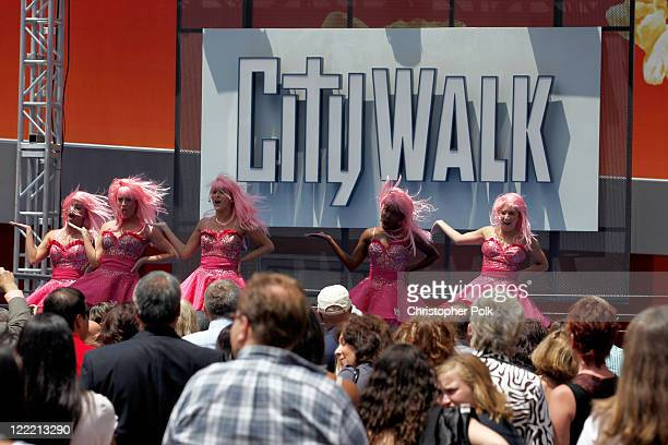 Musical group The Wiggies perform onstage during the premiere of 'Standing Ovation' after party at Universal AMC CityWalk Stadium 19 Cinemas on July...