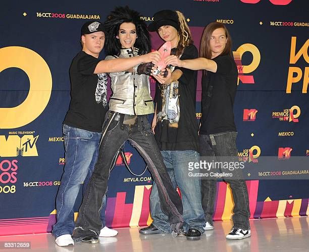 Musical group Tokio Hotel pose in the press room during the 7th Annual 'Los Premios MTV Latin America 2008' Awards held at the Auditorio Telmex on...