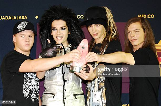 Musical group Tokio Hotel poses in the press room during the 7th Annual 'Los Premios MTV Latin America 2008' Awards held at the Auditorio Telmex on...