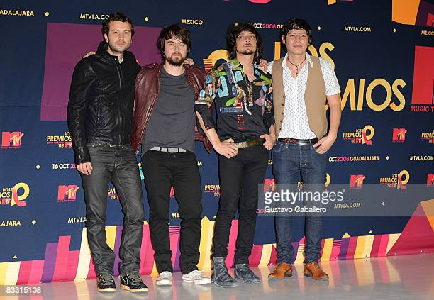 Musical group Zoe poses in the press room during the 7th Annual 'Los Premios MTV Latin America 2008' Awards held at the Auditorio Telmex on October...