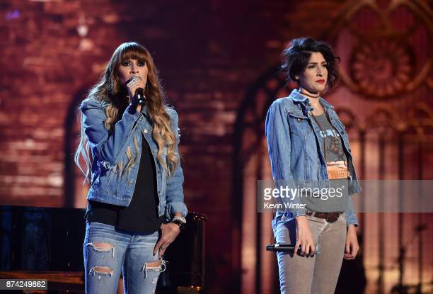 Musical groups Ha*Ash and Bronco perform onstage during rehearsals for the 18th annual Latin Grammy Awards at MGM Grand Garden Arena on November 14...