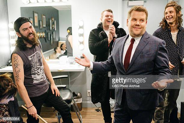 Musical guest CRX chat in the green room with James Corden during The Late Late Show with James Corden Tuesday December 6 2016 On The CBS Television...