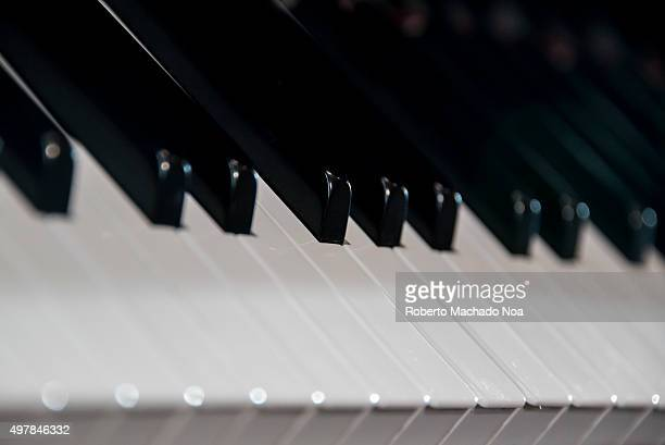 Musical instrument Closeup of piano showing its shiny black and white keys