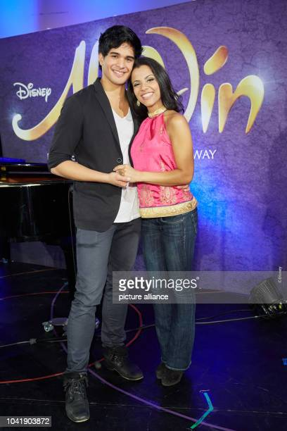 Musical leads Richard Salavodor Wolff and Myrthes Monteiro pose during rehearsal for the musical 'Aladdin' at the Stage Theater Neue Flora...