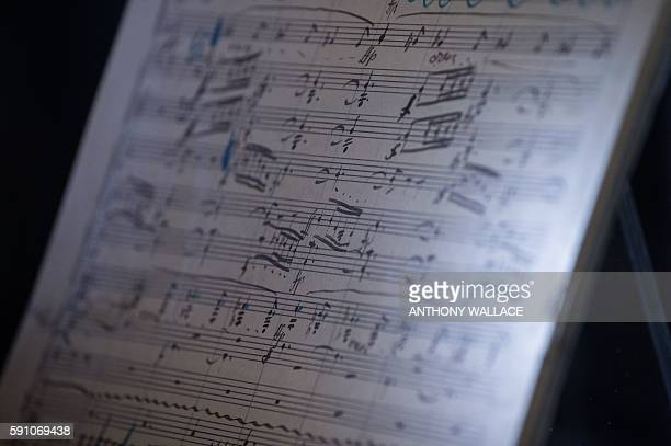 Musical manuscripts of Austrian lateRomantic composer Gustav Mahler's Second Symphony the 'Resurrection' are displayed in a glass cabinet at the...