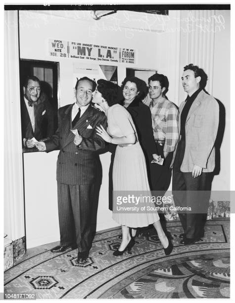 Musical 'My L A' 14 November 1951 Milt Forrest Nancy Hadley Supplementary material reads 'My LA for Thursday Forum Theater * RE 26251 Thank you First...