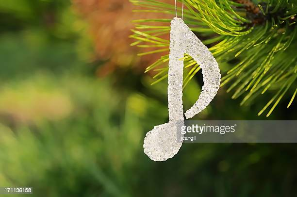 musical note christmas decoration - christmas music stock pictures, royalty-free photos & images