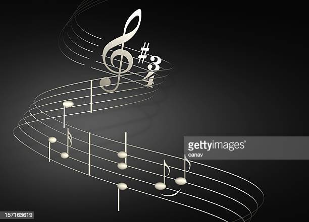 musical notes on black