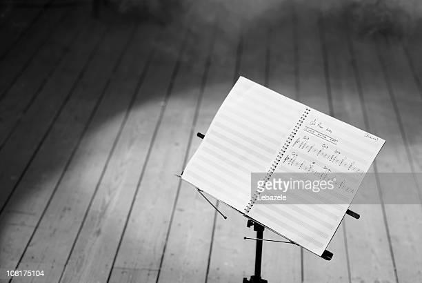 Musik-Noten auf weiß, schwarz und weiß