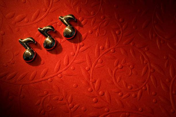 Musical Notes On The Red Background Wall Art