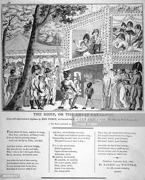 Musical performance at Vauxhall Gardens Lambeth London 1809 'The Romp or the Great Catalani sung with unprecedented applause by Miss Feron at...