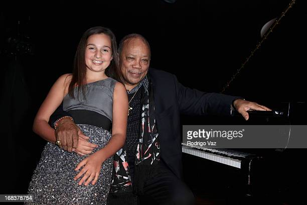 Musical prodigy Emily Bear and producer Quincy Jones attend the Emily Bear Record Release Party at the Jazz Bakery Musicians Institute Concert Center...