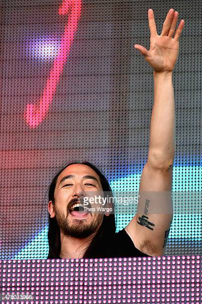 Musical producer Steve Aoki performs onstage during day 4 of the Firefly Music Festival after a cancelled set due to inclement weather the day before...