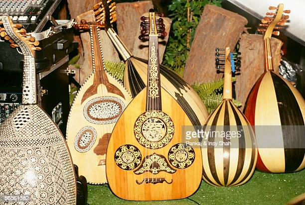 Musical stringed instruments of various shapes and sizes are arranged at one place.