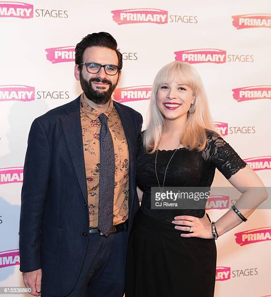 Musical theatre writer Joe Iconis and actress Lauren Marcus attend the Primary Stages 2016 Gala at 538 Park Avenue on October 17 2016 in New York City