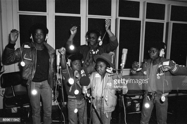 Musical Youth, British Jamaican pop / reggae group, at Capital Radio studios in London where they are helping to launch a road safety campaign...
