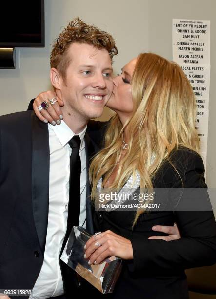 Musican Anderson East and singersongwriter Miranda Lambert backstage during the 52nd Academy Of Country Music Awards at TMobile Arena on April 2 2017...