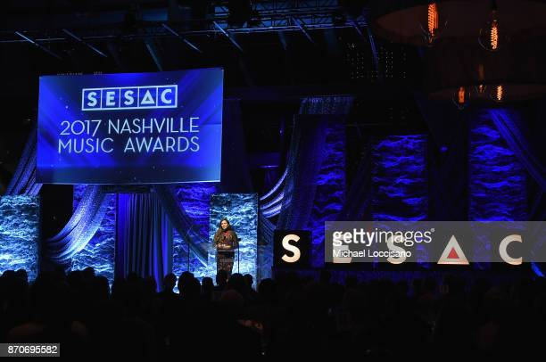 Musican artist Hillary Scott accepts a humanitarian award onstage during the 2017 SESAC Nashville Music Awards on November 5 2017 in Nashville...