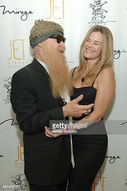 Musican Billy Gibbons and his wife Gilligan Gibbons arrive at Slash's birthday party at JET Nightclub at the Mirage Hotel and Casino on July 24 2008...
