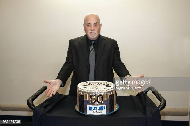 Musican Billy Joel celebrates the 50th consecutive show of his sold out residency at Madison Square Garden on March 28 2018 in New York City